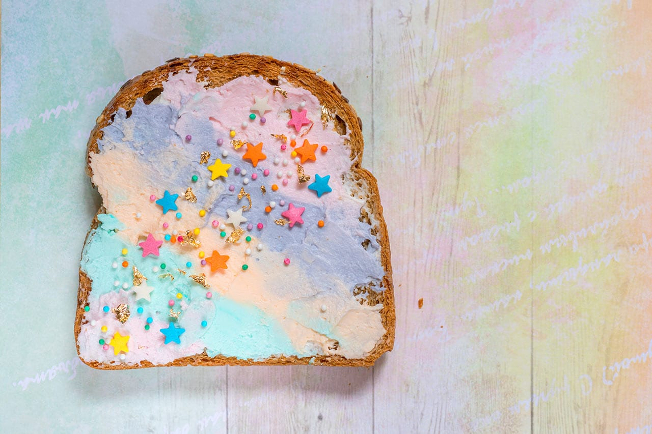 Einhorn Toast, buntes Frühstück selber machen, Rezept
